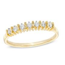 0.12 Ct Round Natural Diamond Seven Stone Wedding Band 10K Yellow Gold Ring - €264,78 EUR