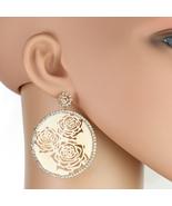 UNITED ELEGANCE Rose Tone Cut-Out Earrings Engulfed by Swarovski Style C... - $24.99