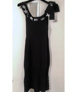 Chanel Black Textured Knit Brooch Embellished Neckline Sleeveless Dress ... - $1,583.01