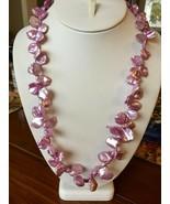 "Lavender Pink Keshi Pearl Necklace 24"" Freshwater Sterling silver baroqu... - $48.96"
