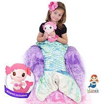 Blankii Kids Mermaid Tail Blanket Soft Minky Fleece with Blue And Green ... - $46.54