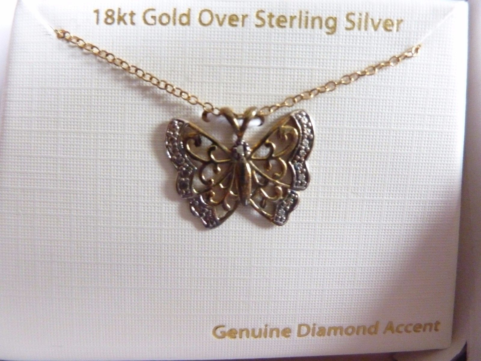 Primary image for Butterfly Necklace 18K Gold Over Sterling Silver Pendant Diamond Accent NEW