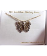 Butterfly Necklace 18K Gold Over Sterling Silver Pendant Diamond Accent NEW - $24.45
