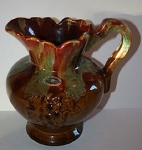 """Dryden Pottery Hot Springs Nat Park 8"""" Tall Pitcher Signed Brown with Gr... - $24.71"""