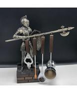 MEDIEVAL KNIGHT UTENSIL HOLDER Japan joust shield statue axe ax spoon ra... - $148.50