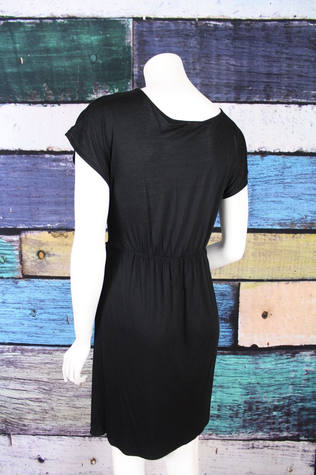 Ann Taylor LOFT Small S Black V-Neck Ruched Stretch Micro Modal Surplice Dress