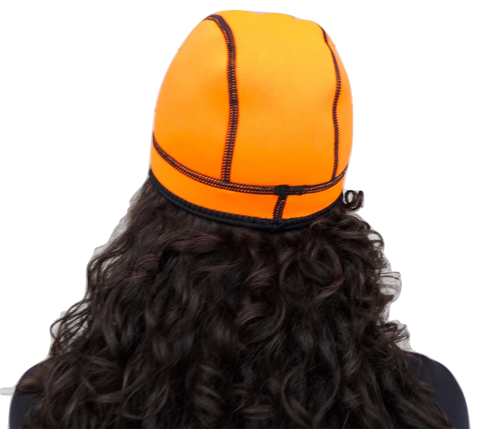 1mm Neoprene Wetsuit Beanie Cap, Bright Orange-Reversible to Black