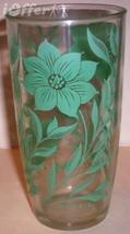 "1960'S RETRO HAZEL ATLAS--GREEN DAHLIA PINT GLASS 6"" TALL - $9.95"