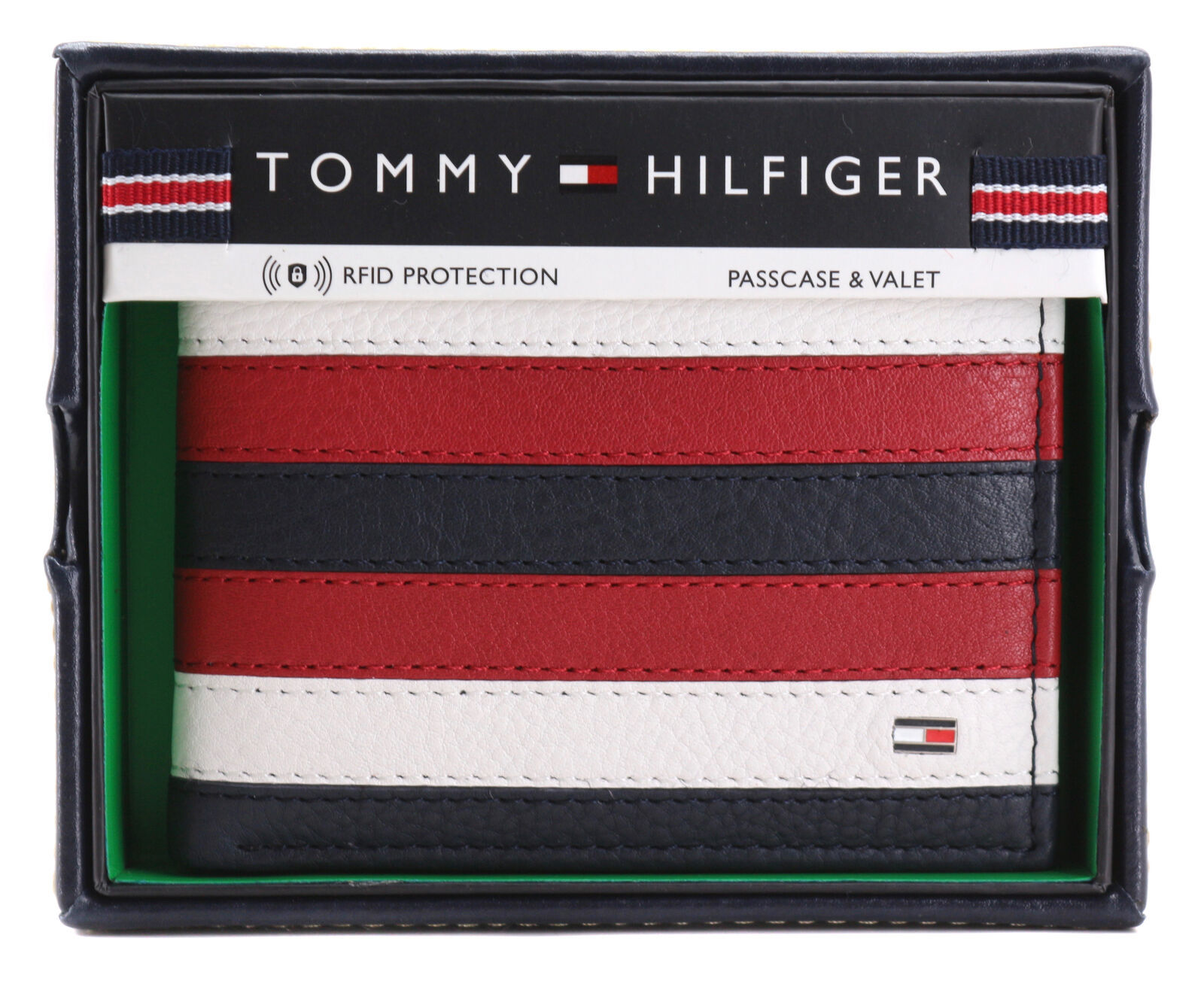 Tommy Hilfiger Men's Leather Wallet Passcase Billfold RFID Navy Red 31TL220104