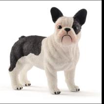 FRENCH BULLDOG PUPPY DOG WHITE BLACK PET BULL DOG FIGURINE SCHLEICH TOY - $9.00