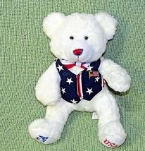 "8"" CARLTON CARDS USA TEDDY BEAR White Plush Bean Bag Stars Stripes Vest ... - $16.83"