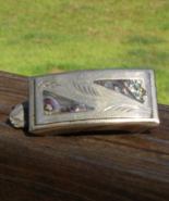 Abalone and Silver Belt Buckle, Signed Alpaca Mexico - $36.00