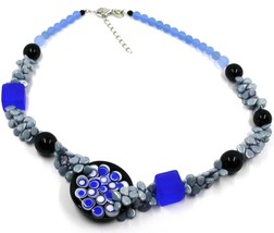 NECKLACE GRAY BLACK MURANO GLASS BUNCH OF PETAL DROPS SQUARE DISC MADE IN ITALY image 1