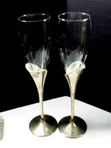 2 LENOX Crystal Champagne Flute Wedding Anniversary Silverplate Stems Heart image 9