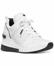 Michael Kors MK Women's Georgie Trainer Leather Sneakers Shoes Bright White (10)