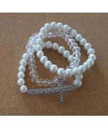 Cross bracelet Set of three stretch bracelets two white pearl one clear ... - $16.99