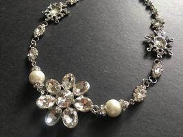Flower necklace, Swarovski rhinestone crystals necklace, wedding bridal ... - $25.88