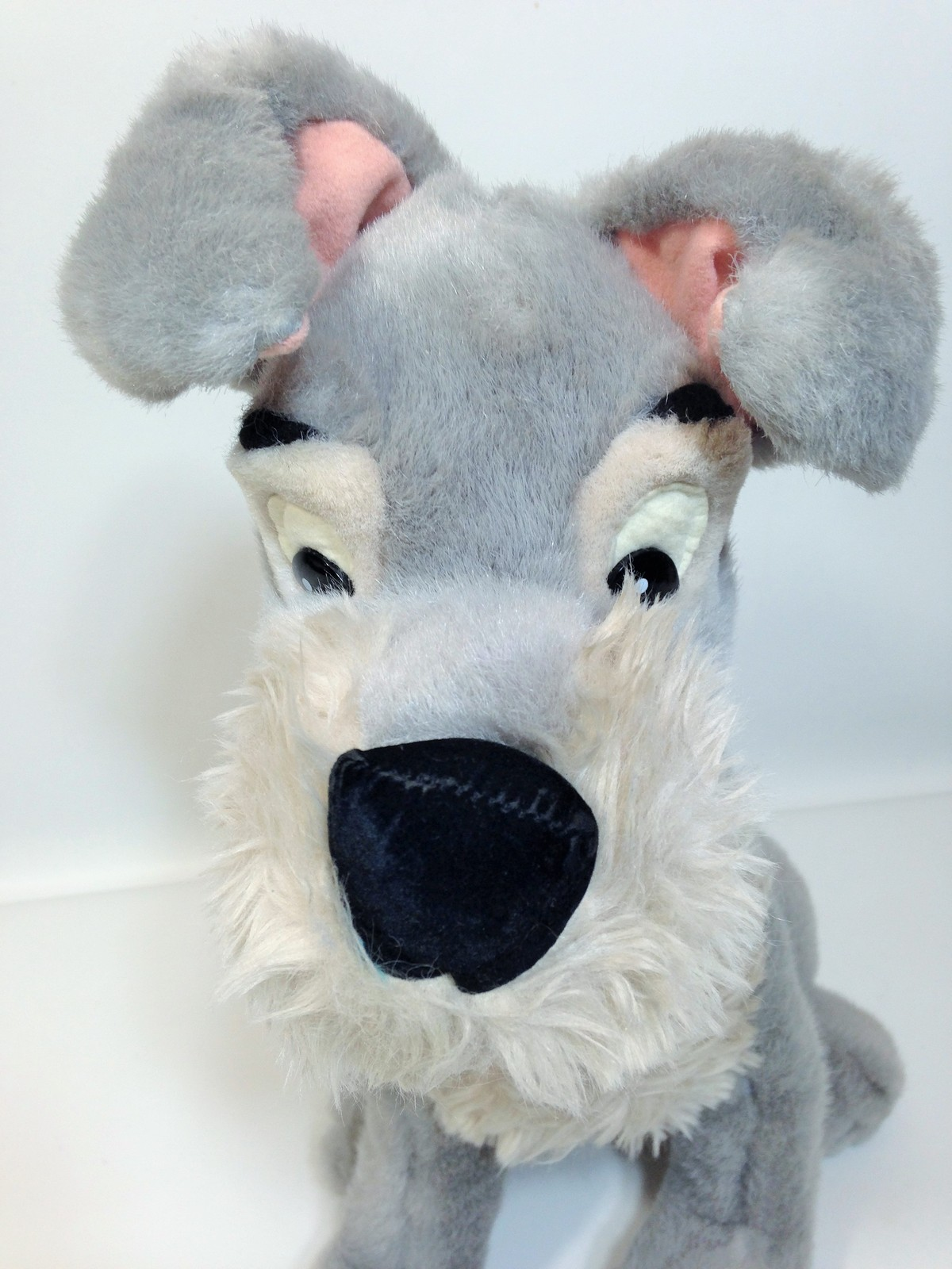 "Vintage Disney Tramp Plush Dog Grey Stuffed Animal Metal DogTag 14"" image 2"