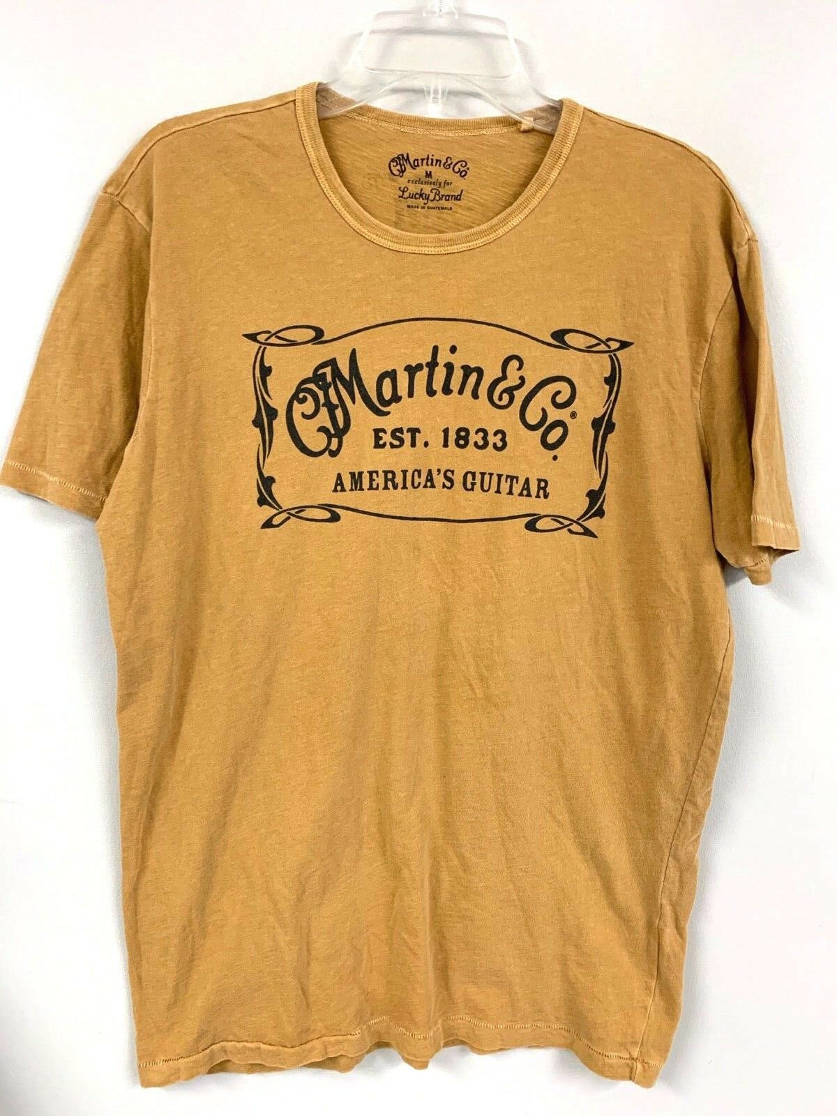 LUCKY BRAND MARTIN & CO  ADVERTISING T SHIRT Guitar Gold M CFM EUC - $28.00