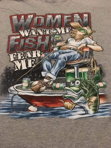 "Primary image for Men's Gray Graphic Tshirt Sz XL ""Women Want Me Fish Fear Me"" Funny Humor Shirt"
