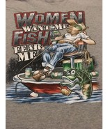 "Men's Gray Graphic Tshirt Sz XL ""Women Want Me Fish Fear Me"" Funny Humor... - $9.99"