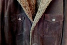GAP Mens Suede Leather Coat Jacket Thick & Heavy Sherpa Lined Size XXL Dk Brown image 4