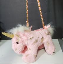 Pink gold unicorn plush purse Girl Gift - $18.80