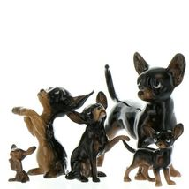 Hagen Renaker Dog Chihuahua Tiny Puppy Black & Tan Ceramic Figurine image 8