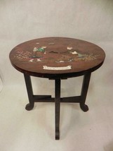 ANTIQUE LACQUERED WOOD FOLDING LEG SIDE TABLE WITH ENAMELED INLAYS ASIAN - $148.49