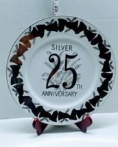 "25th Anniversary Plate Silver & White 10-3/4"" Norcrest Japan B-550 Bells... - £9.86 GBP"