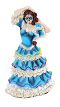 8 Inch Day of The Dead Blue Dress Mexican Dancer Statue Figurine - $24.99