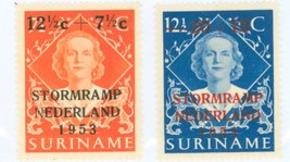 1953  Flood Relief in the Netherlands Set of 2 Surinam Stamps Catalog B53-54 MNH