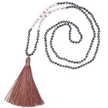 KELITCH Long Tassel Necklace Handmade Shell Pearl Crystal Beads (Light B... - $24.09
