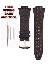 Seiko Sportura SNL017P1 27mm Orange Stitch Black Leather Watch Strap Band SKO113 - $34.65