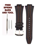 Seiko Sportura SNL017P1 27mm Orange Stitch Black Leather Watch Strap Ban... - $34.65