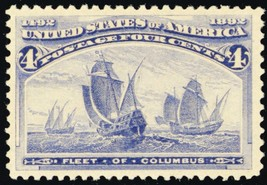 233, Mint XF OG NH 4¢ Fleet of Columbus Stamp - Stuart Katz - $225.00