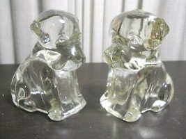 Pair Puppy CLEAR GLASS DOG CANDY CONTAINER FIGURINE FROM ESTATE SALE - $4.95