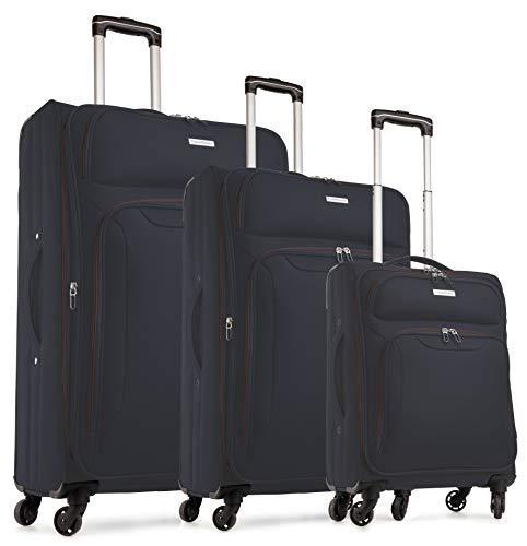 TravelCross Barcelona Luggage 3 Piece Lightweight Expandable Spinner Set - Dark