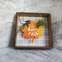 """Fall Decor Plaque, live air plants, Wooden shadow box, autumn leaf """"Happy Fall"""" image 9"""