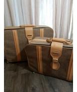 Vintage Fifth Avenue Suitcases Tan Tweed Set Of 2 - $110.88