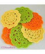 6 Crochet Flower Coasters Summer Citrus Colors Orange Lemon Lime 100% Co... - $9.99