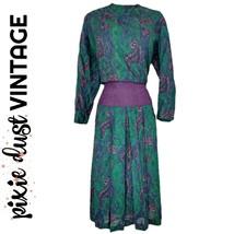 Vintage Dress 70s Paisley Green Purple Midi Mididress Drop Waist Size Me... - $52.38