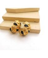 Vintage Black Enamel Painted Brushed Gold Tone Hoop Earrings L12 - $11.77