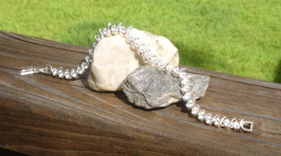 Vintage Napier Crystal Tennis Bracelet, Wave Curve S-Design