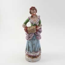 Figurine of Victorian Woman Playing Squeeze Box Ceramic Porcelain Occupied Japan image 1