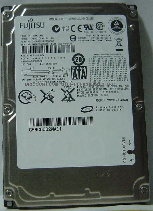 NEW Fujitsu MHV2100BH 100GB SATA 2.5in 9.5MM Hard Drive Free USA Ship