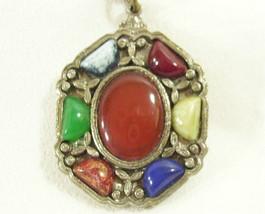 JEM 71 Celtic Multi Color Agate Cabochon Pendant Necklace Chain Vintage ... - $19.75