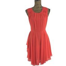 Anthropologie Dress Sm S Sunday In Brooklyn Orange Wynne Tux Pleat Flirty Hi Low - $24.10
