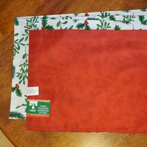 Christmas Placemats, Set of 4 Fabric Place Mats, Holly Mistletoe Red Green White image 3