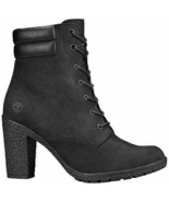 Timberland Women's Tillston 6 Inch High Heel Black Leather Boots  A1H1I ... - $119.99